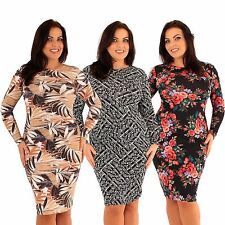 Women's Knee Length Long Sleeve Polyester Stretch, Bodycon Dresses