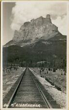 Train Railroad Tracks View of Mt Mount Eisenhower RPPC Photo Postcard A27