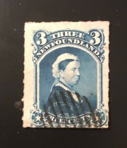 Stamps Canada Newfoundland Sc39 3c blue QV  rouletted - see description