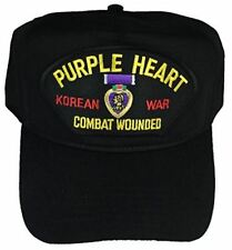 PURPLE HEART COMBAT WOUNDED KOREAN WAR HAT - BLACK - Veteran Owned Business