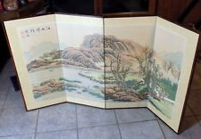 ANTIQUE ASIAN FOLDING PANEL SCREEN WATERCOLOR ON SILK MOUNTAINS SIGNED 36X68