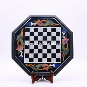 Black Marble Top Chess Inlaid table Top handmade Indoor Decorative Game Gift Her