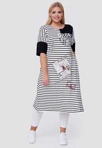 STUNNING BLACK/WHITE STRIPED APPLIQUÉ JERSEY DRESS BUST UK Size 18-20
