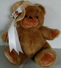 1st year 1988 LUCY RIGG Stuffed Plush Teddy BEAR No.86 Limited Edition Straw Hat