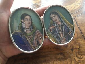 Lovely Set Antique Victorian Indian Hand Painted Ladies Miniatures .