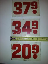 "Gas Prices  ""3"" Small Metal Signs-40's/50's/60's, 4"" X  6 1/2"")"