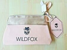 Wildfox Makeup Bag Pink Canvas & Gold Faux Leather w/ Bow - NWT