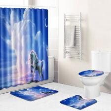 4Pcs Unicorn Bathroom Rug Set Shower Curtain Bath Mat Non-Slip Toilet Lid Cover