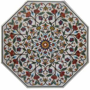 "48"" Marble table top semi precious stones pietradura handmade work decor"