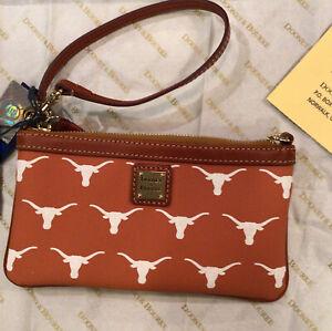 Dooney and Bourke University of Texas  LONGHORNS Wristlet Leather Trim Zip