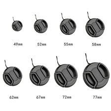49mm-72mm Center Pinch Snap On Front Lens Cap Cover Fr Canon Nikon Sony +String