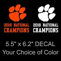 Large Clemson Tigers 2018 National Champions Decal Sticker Paw Print 6.2 x 5.5