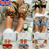 Womens Slip On Sandals Bow Flat Mule Summer Sliders Espadrille Shoes Sizes NO