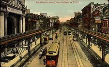 Eisenbahn & Bahnhof Vintage Postcard 1902 New York City USA Bowery Elevated Road