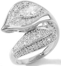 "1.56ct Absolute Pave' ""Calla Lily"" Sterling Silver Wrap Ring - Size 5"