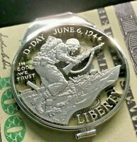 D-Day USA Silver Dollar Cut Coin Sterling Money Clip WWII Normandy 1944 Landing