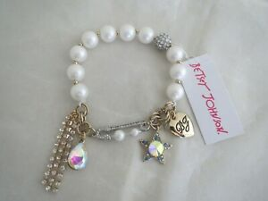 Betsey Johnson gold tone~star~pearls~crystal stretch bracelet, NWT