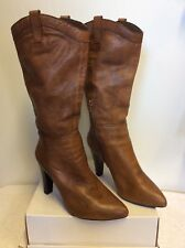 NINE WEST TAN LEATHER CALF LENGTH HEELED BOOTS SIZE 6/39
