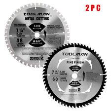 """2PC Set 7-1/4"""" 5/8"""" 48T 60T Carbide Tip Circular Saw Blade For Metal Wood"""