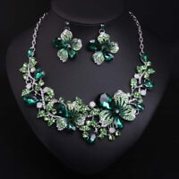 Bridal Austrian Crystal Necklace & Earrings Jewelry Set Gifts Fit Wedding Dress