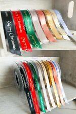 Merry Christmas Satin Ribbon DIY Card Craft Present Wrapping Bow Making Metallic
