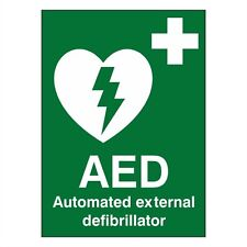 AED Automated External Defibrillator 150mm x 200mm (Self Adhesive Sticker)