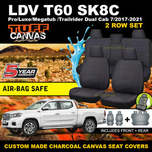 TUFF Canvas Seat Covers LDV T60 SK8C Pro Megatub Trailrider Dual Cab 2017-21 CHA