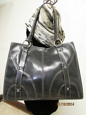 Simulated Large Black Faux Leather Shoulder Tote by Emilie M.