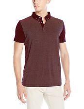 French Connection Slim Cotton Polo Shirt Morse Bordeaux Button Collar Top