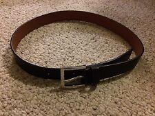 "ANNE KLEIN 1 1/4"" Black Synthetic Leather Belt 1025020 Silver Buckle Medium 34"