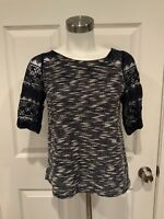 Postmark Anthropologie Navy Blue & White Tweed & Floral Lace Sleeve Top, Size XS