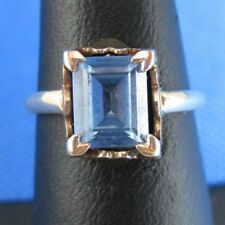 10K YELLOW GOLD BLUE TOPAZ RING SIZE 6