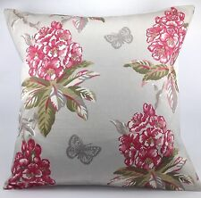 "Ashley Wilde Ascot Raspberry Pink Flowers Butterfly Grey 16"" Cushion Cover"