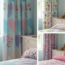 Dreamscene Floral Hearts Birds Childrens 66x72 Ready Made Pencil Pleat Curtains