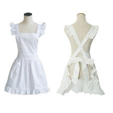 Victorian Edwardian Pinafore Apron Maids Smock Costume Ruffle Laides Fancy Dress