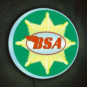 BSA MOTORCYCLE LED LIGHT SIGN LOGO GARAGE VINTAGE AUTOMOBILIA BANTAM GOLD STAR