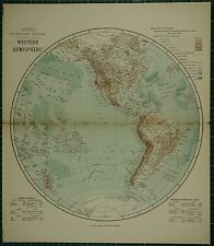 1883 LETTS MAP WESTERN HEMISPHERE NORTH AMERICA RIVER LENGTH MOUNTAINS POLYNESIA