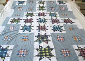 """Machine sewing patchwork and applique  handmade size 54""""x  74"""" quilt top"""