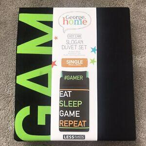 New - Marked - Gamer Duvet Cover Set Single EAT, SLEEP, GAME, REPEAT Slogan Set