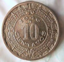 1946 MEXICO 10 CENTAVOS - Mayan Calendar - Great Coin - FREE SHIP -Mexico Bin #3
