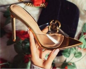 New Gold Color Thin High Heel Women Slippers Lady Sandals Fashion Slip On Slides