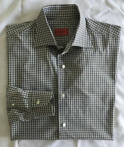 MINT Isaia Napoli Men's Sz 15 3/4 x 34 Green/Gray Plaid Dress Shirt  J103406