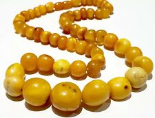 48g Old antique NATURAL EGG YOLK BUTTER SCOTCH CARAMEL amber necklace