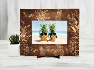 Pineapple Picture Frame Tropical Wood Photo Frame Engraved Housewarming Gift 4x6