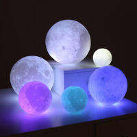 LED Night Light 3D Moon Lamp Lunar Light 16 Colors Remote Touch Control Charging