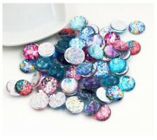 20pcs 12mm Charm Round Fish Scale Glass Cabochon Flatback Earring Jewelry Making