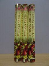 Cherry Vanilla Incense  3 Packs x 20 Sticks  HEM Hex   Free Post AU