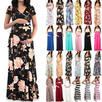 Pregnant Womens Maxi Dress Floral Pirnt Wrap V Neck Maternity Nursing Party Gown