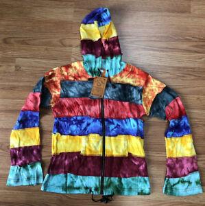 "Tie-Dye Hoodie 100% Cotton Nepal zip-up.   Ladies. See Desc. for Size ""XL"" info"