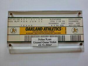 Nolan Ryan 6th No Hitter Game Unused Full Ticket 6/11/1990 Rangers v Oakland